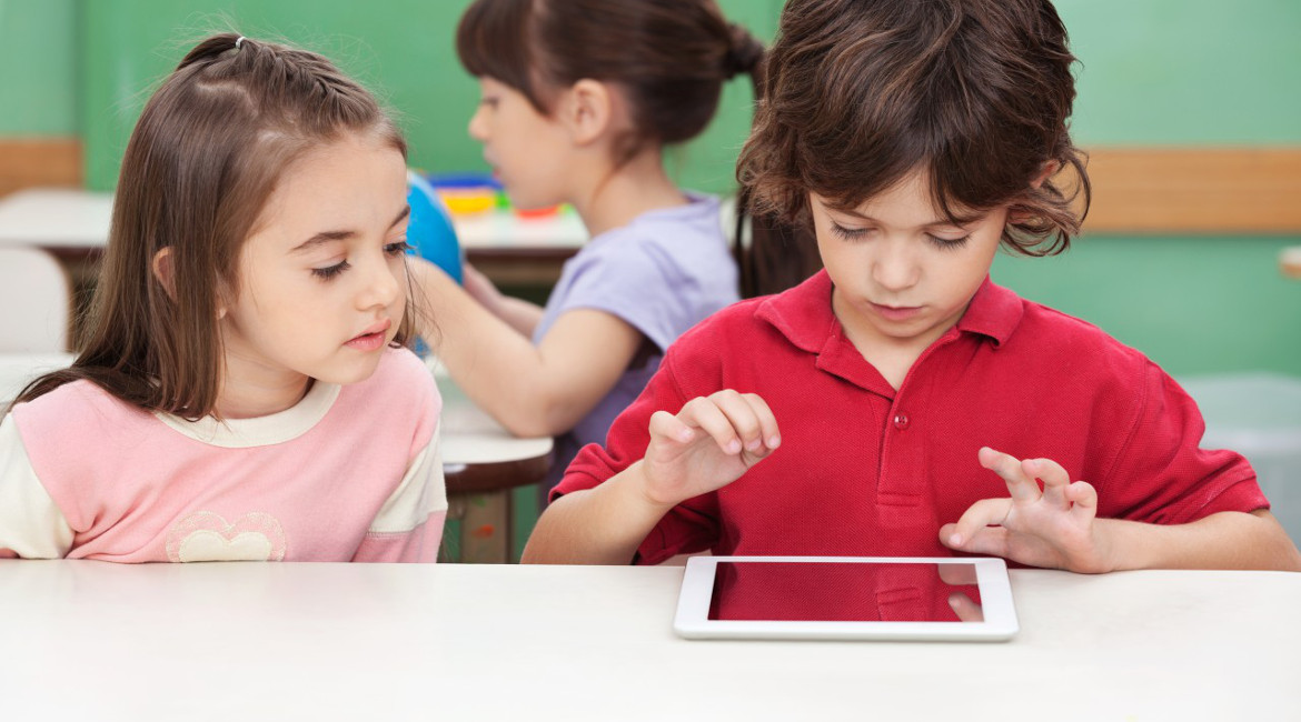 children studying education school tablet
